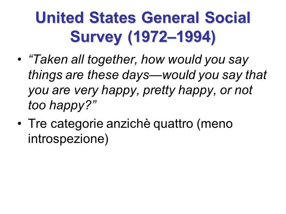 United States General Social Survey (1972–1994) Taken all together, how would you say things are these dayswould you say that you are very happy, pretty happy, or not too happy.