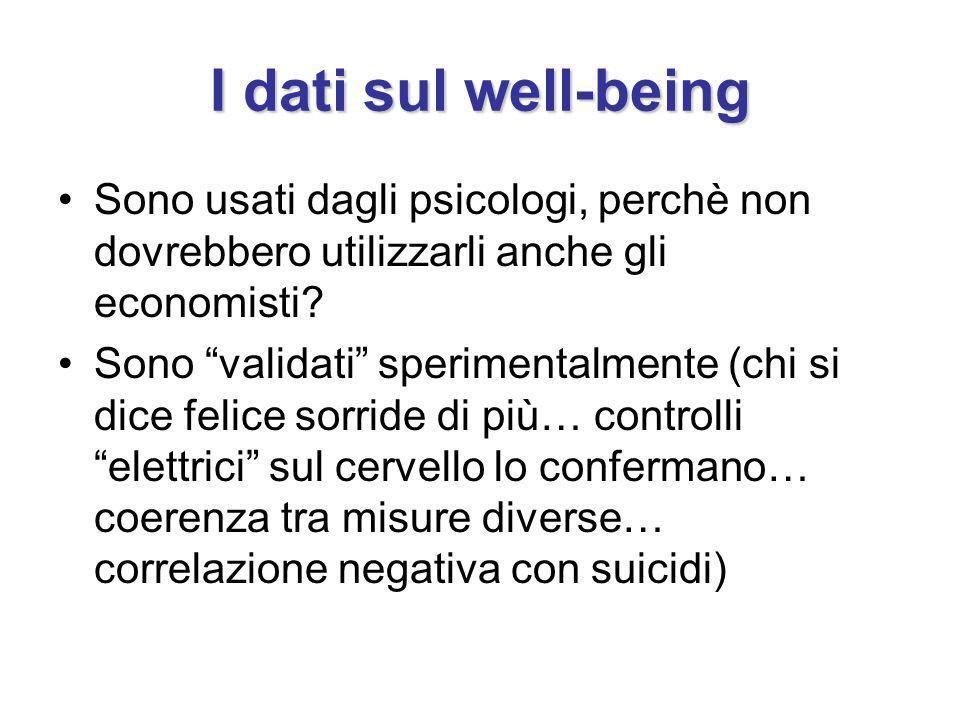 I dati sul well-being Sono usati dagli psicologi, perchè non dovrebbero utilizzarli anche gli economisti? Sono validati sperimentalmente (chi si dice