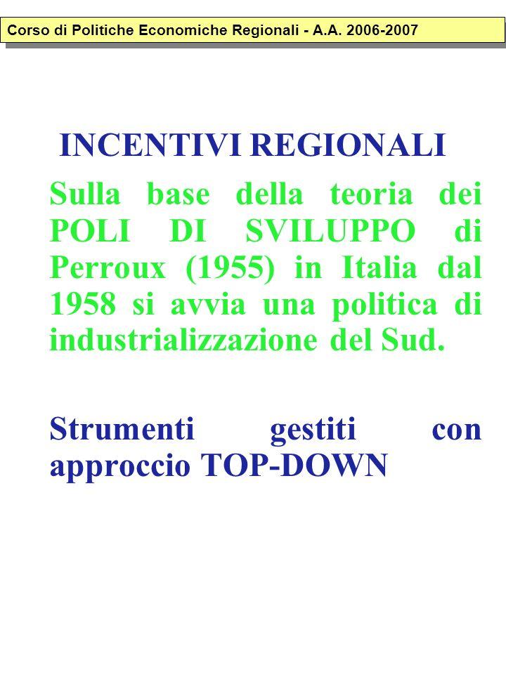 INCENTIVI REGIONALI Sulla base della teoria dei POLI DI SVILUPPO di Perroux (1955) in Italia dal 1958 si avvia una politica di industrializzazione del