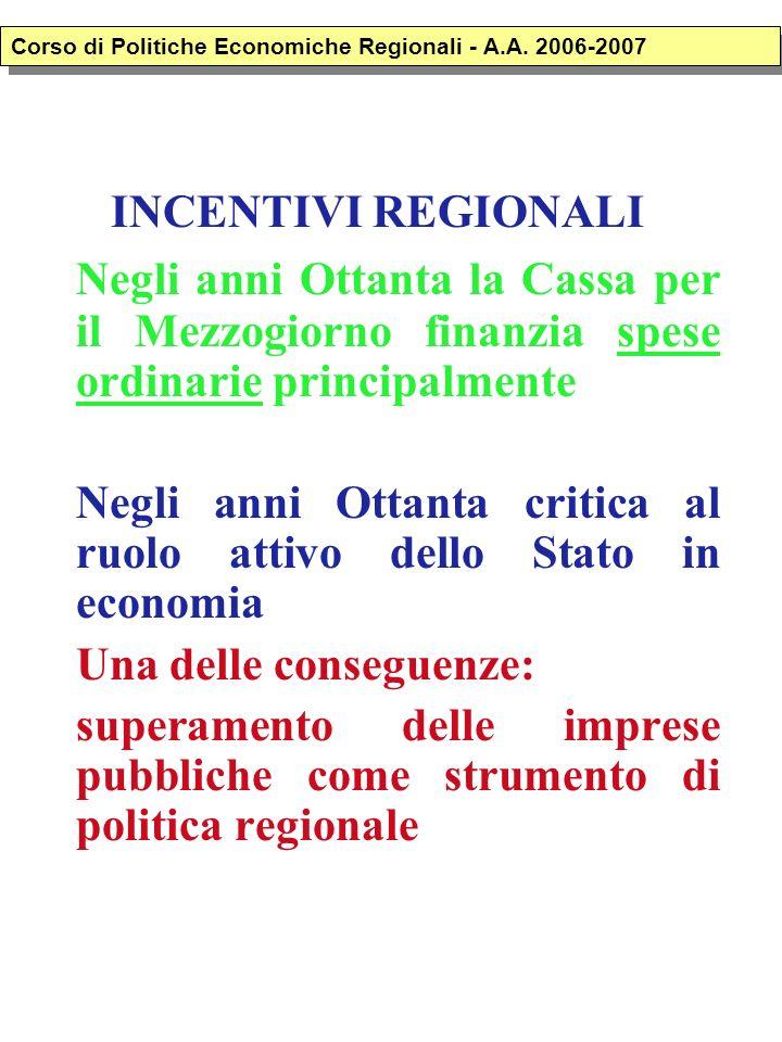 INCENTIVI REGIONALI Negli anni Ottanta la Cassa per il Mezzogiorno finanzia spese ordinarie principalmente Negli anni Ottanta critica al ruolo attivo