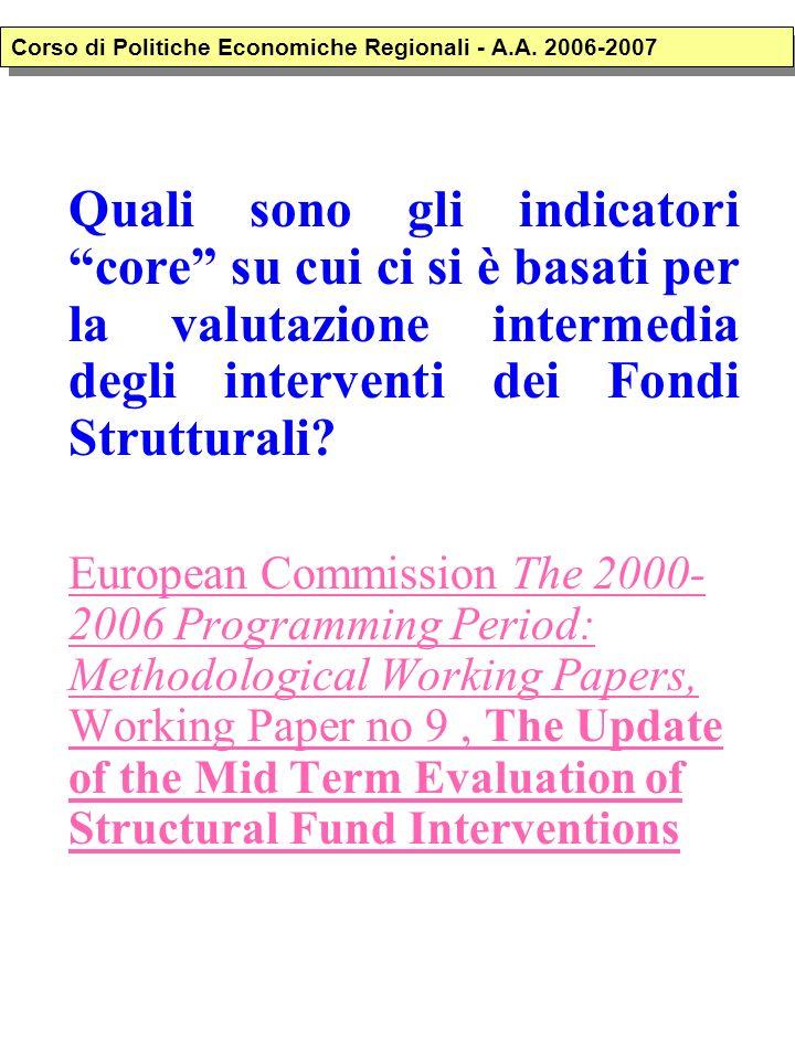 Quali sono gli indicatori core su cui ci si è basati per la valutazione intermedia degli interventi dei Fondi Strutturali? European Commission The 200