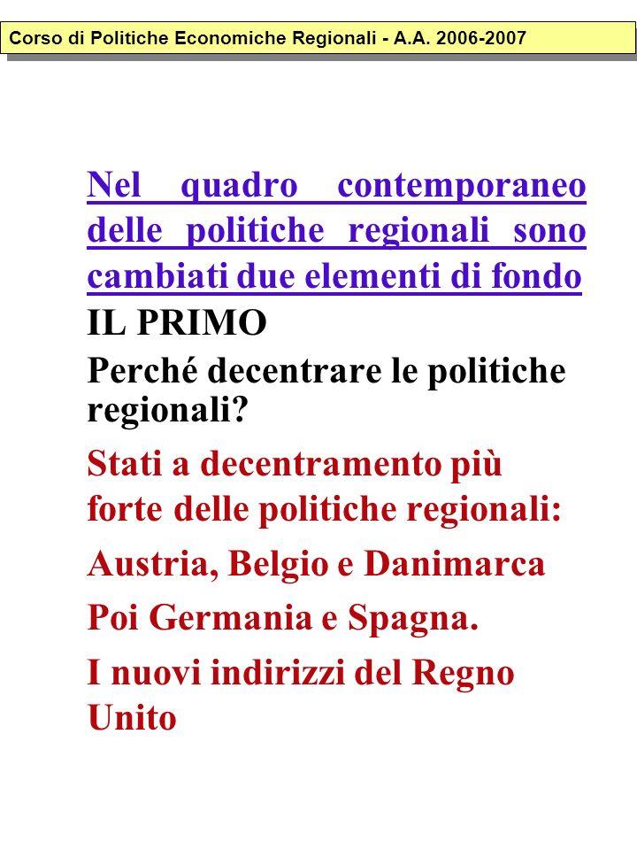Nel quadro contemporaneo delle politiche regionali sono cambiati due elementi di fondo IL PRIMO Perché decentrare le politiche regionali? Stati a dece