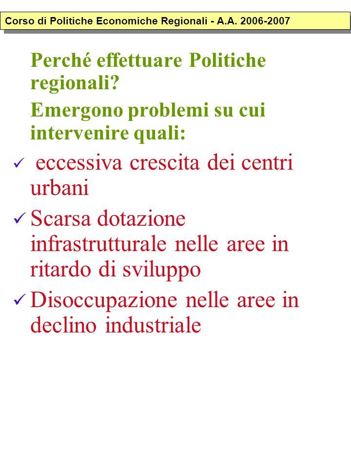 Perché effettuare Politiche regionali? Emergono problemi su cui intervenire quali: eccessiva crescita dei centri urbani Scarsa dotazione infrastruttur
