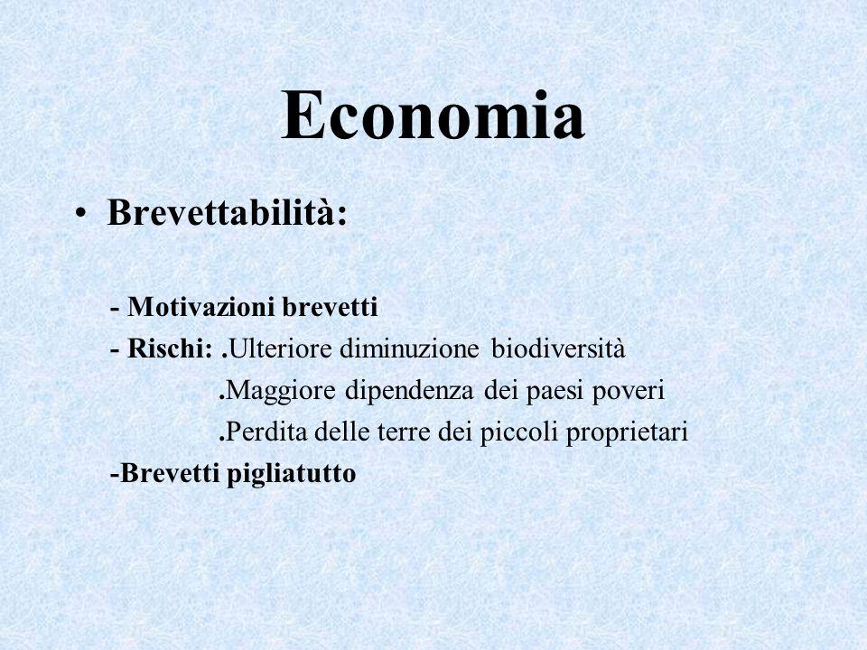Economia Brevettabilità: - Motivazioni brevetti - Rischi:.Ulteriore diminuzione biodiversità.Maggiore dipendenza dei paesi poveri.Perdita delle terre