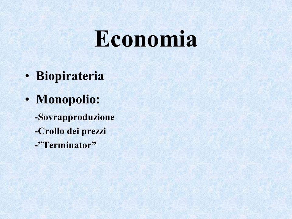 Economia Biopirateria Monopolio: -Sovrapproduzione -Crollo dei prezzi -Terminator