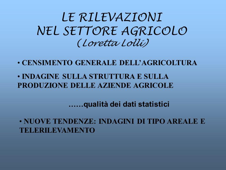 LE RILEVAZIONI NEL SETTORE AGRICOLO (Loretta Lolli) CENSIMENTO GENERALE DELLAGRICOLTURA INDAGINE SULLA STRUTTURA E SULLA PRODUZIONE DELLE AZIENDE AGRICOLE NUOVE TENDENZE: INDAGINI DI TIPO AREALE E TELERILEVAMENTO ……qualità dei dati statistici
