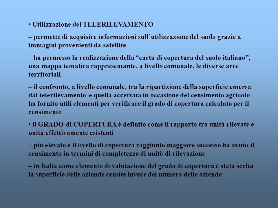 Differenze tra campo di osservazione nazionale e campo di osservazione CEE in termini percentuali Fonte: ISTAT Lelaborazione dei dati del censimento dellagricoltura in Italia si sviluppa secondo il campo di osservazione nazionale il campo di osservazione comunitario