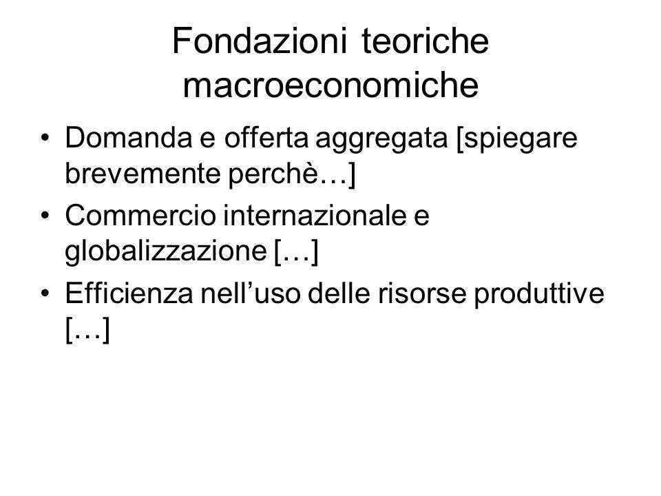 Fondazioni teoriche macroeconomiche Domanda e offerta aggregata [spiegare brevemente perchè…] Commercio internazionale e globalizzazione […] Efficienza nelluso delle risorse produttive […]