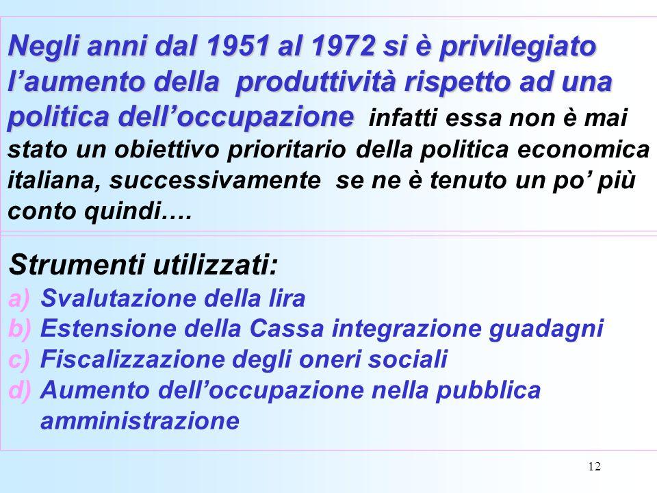 12 Negli anni dal 1951 al 1972 si è privilegiato laumento della produttività rispetto ad una politica delloccupazione Negli anni dal 1951 al 1972 si è privilegiato laumento della produttività rispetto ad una politica delloccupazione infatti essa non è mai stato un obiettivo prioritario della politica economica italiana, successivamente se ne è tenuto un po più conto quindi….