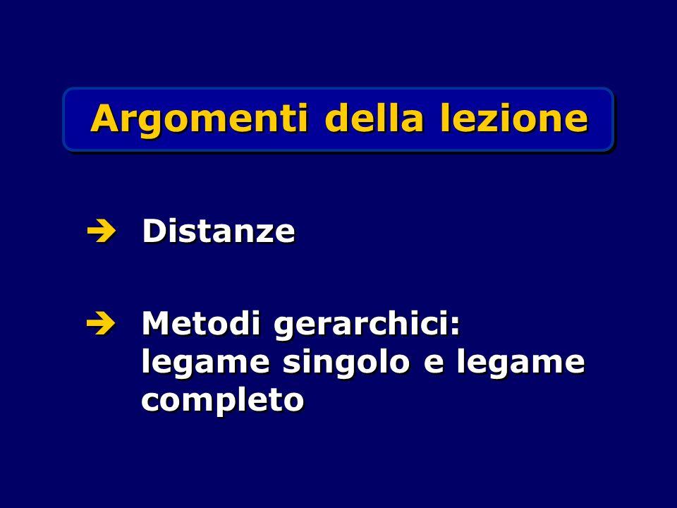Argomenti della lezione Distanze Metodi gerarchici: legame singolo e legame completo