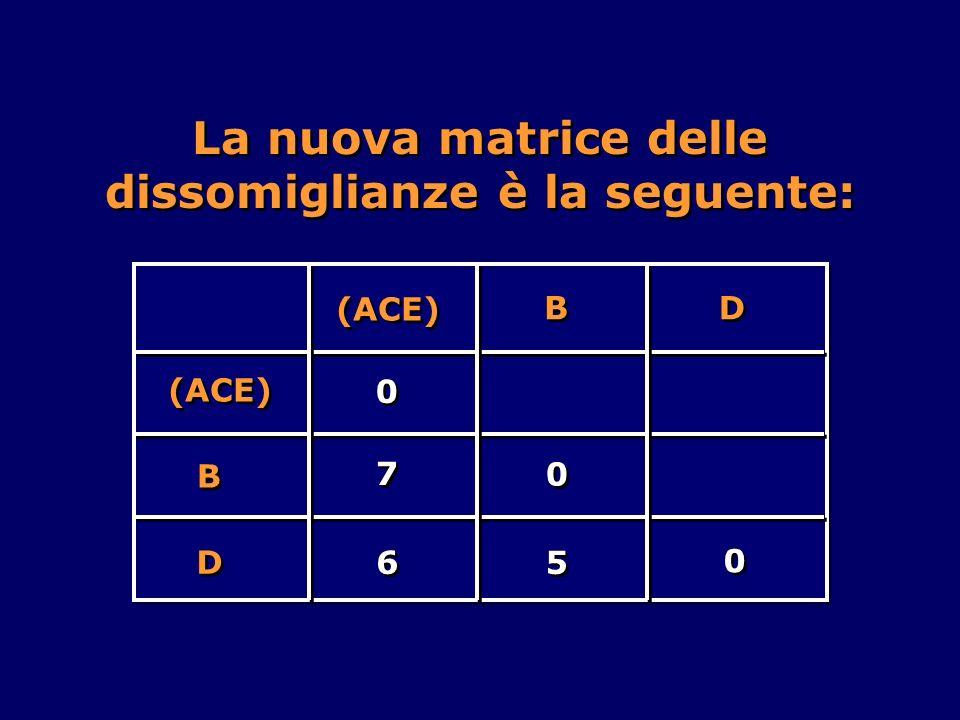La nuova matrice delle dissomiglianze è la seguente: B B D D (ACE) 0 0 6 6 5 5 B B D D 7 7 0 0 0 0
