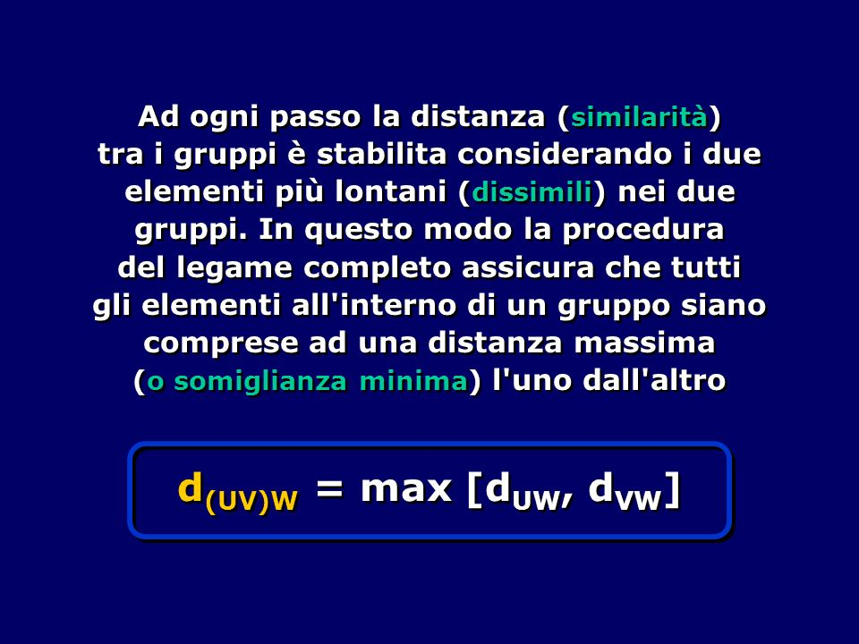 Ad ogni passo la distanza (similarità) tra i gruppi è stabilita considerando i due elementi più lontani (dissimili) nei due gruppi. In questo modo la