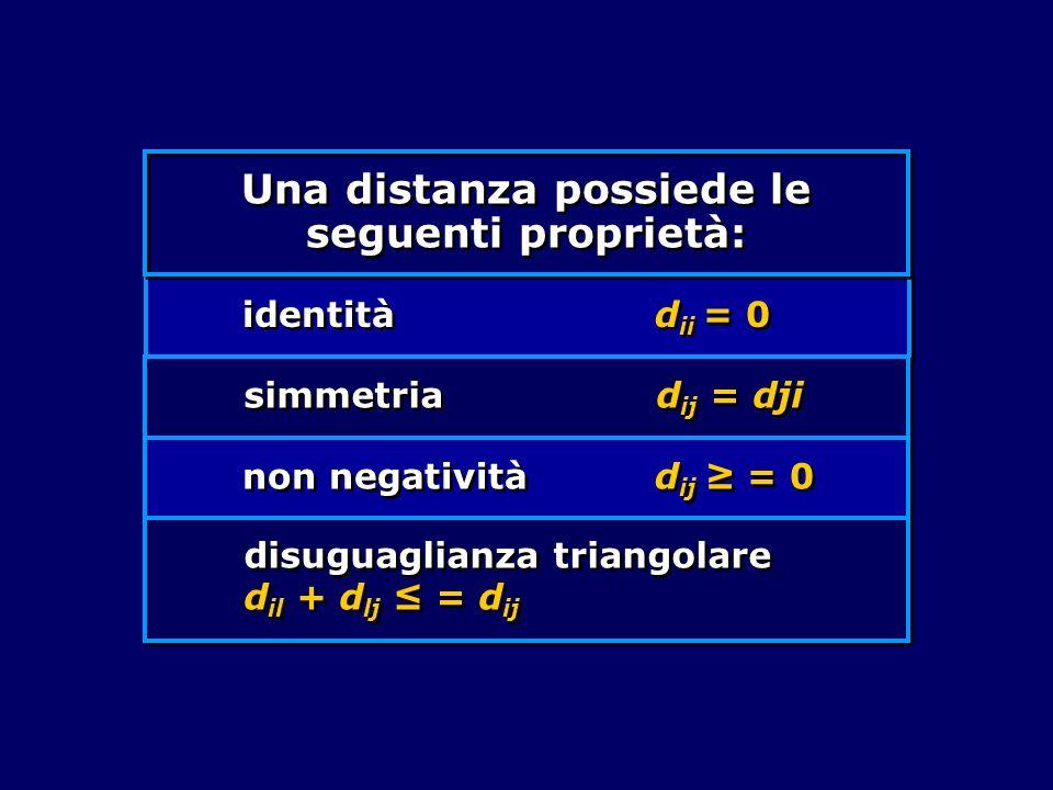Una distanza possiede le seguenti proprietà: identità d ii = 0 simmetria d ij = dji non negatività d ij = 0 disuguaglianza triangolare d il + d lj = d