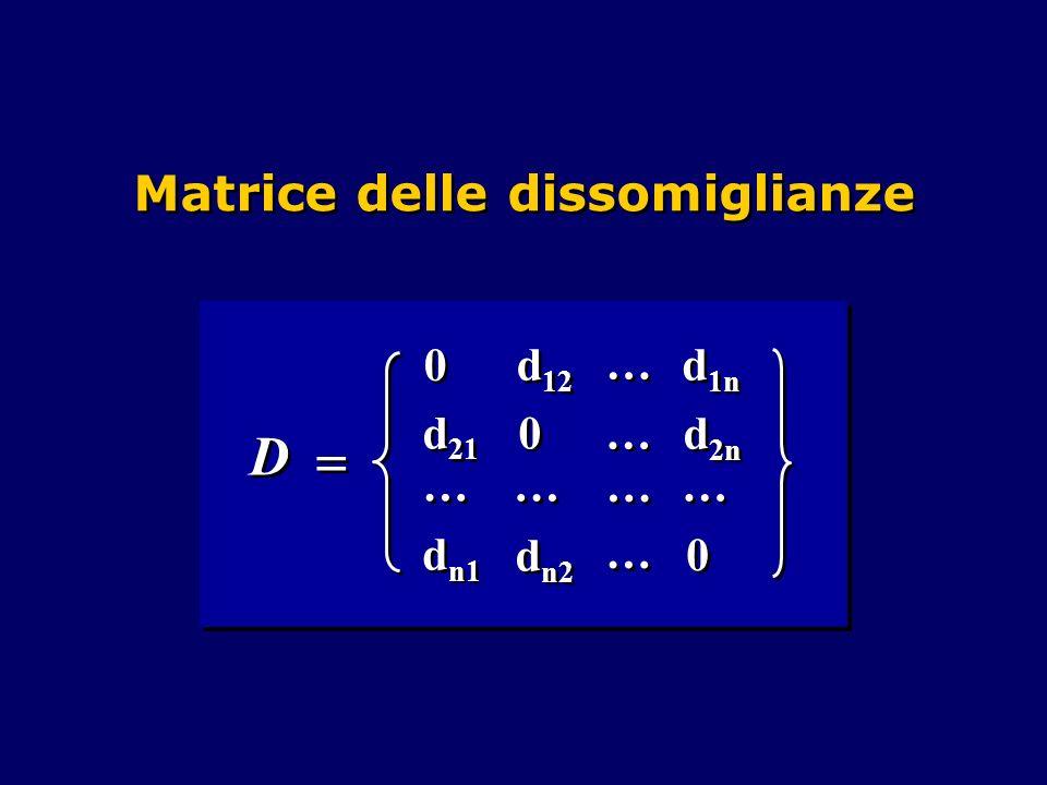 Matrice delle dissomiglianze D D 0 0 0 0 0 0 d 21 d n1 d n2 d 2n d 1n d 12 … … … … … … … … … … … … … …