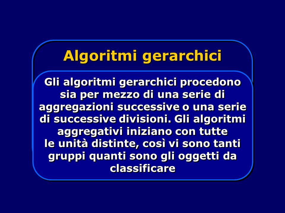 Algoritmi gerarchici Gli algoritmi gerarchici procedono sia per mezzo di una serie di aggregazioni successive o una serie di successive divisioni. Gli