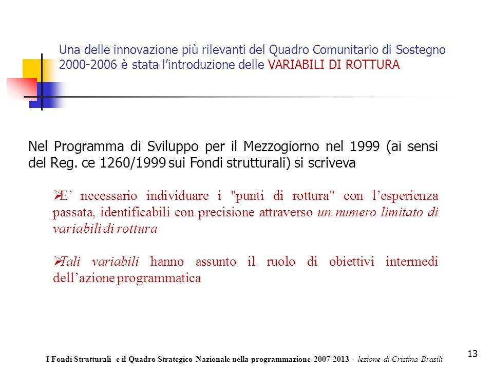 13 Una delle innovazione più rilevanti del Quadro Comunitario di Sostegno 2000-2006 è stata lintroduzione delle VARIABILI DI ROTTURA Nel Programma di Sviluppo per il Mezzogiorno nel 1999 (ai sensi del Reg.