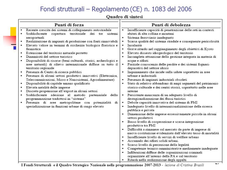 27 Fondi strutturali – Regolamento (CE) n.
