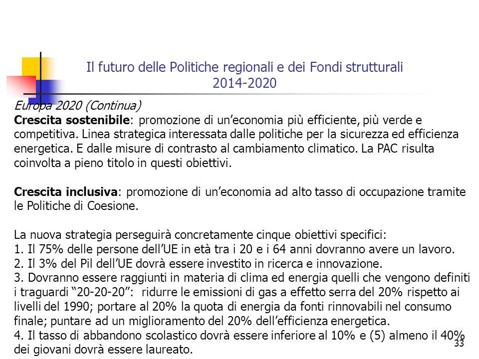 33 Il futuro delle Politiche regionali e dei Fondi strutturali 2014-2020 Europa 2020 (Continua) Crescita sostenibile: promozione di uneconomia più efficiente, più verde e competitiva.