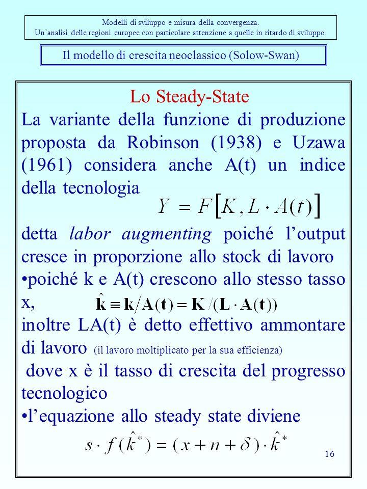 16 Il modello di crescita neoclassico (Solow-Swan) Modelli di sviluppo e misura della convergenza. Unanalisi delle regioni europee con particolare att