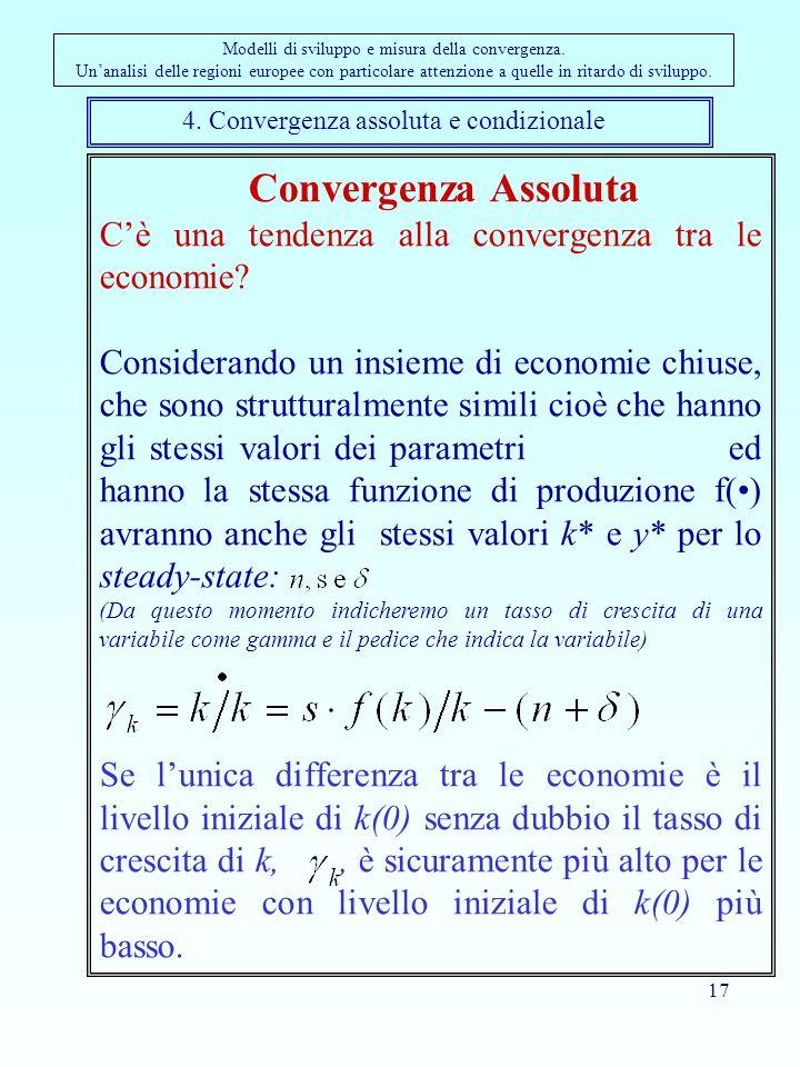 17 4. Convergenza assoluta e condizionale Modelli di sviluppo e misura della convergenza. Unanalisi delle regioni europee con particolare attenzione a