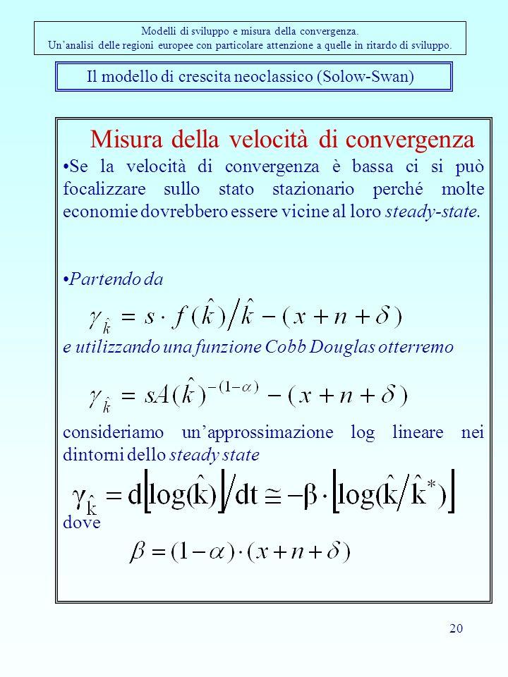 20 Il modello di crescita neoclassico (Solow-Swan) Modelli di sviluppo e misura della convergenza. Unanalisi delle regioni europee con particolare att