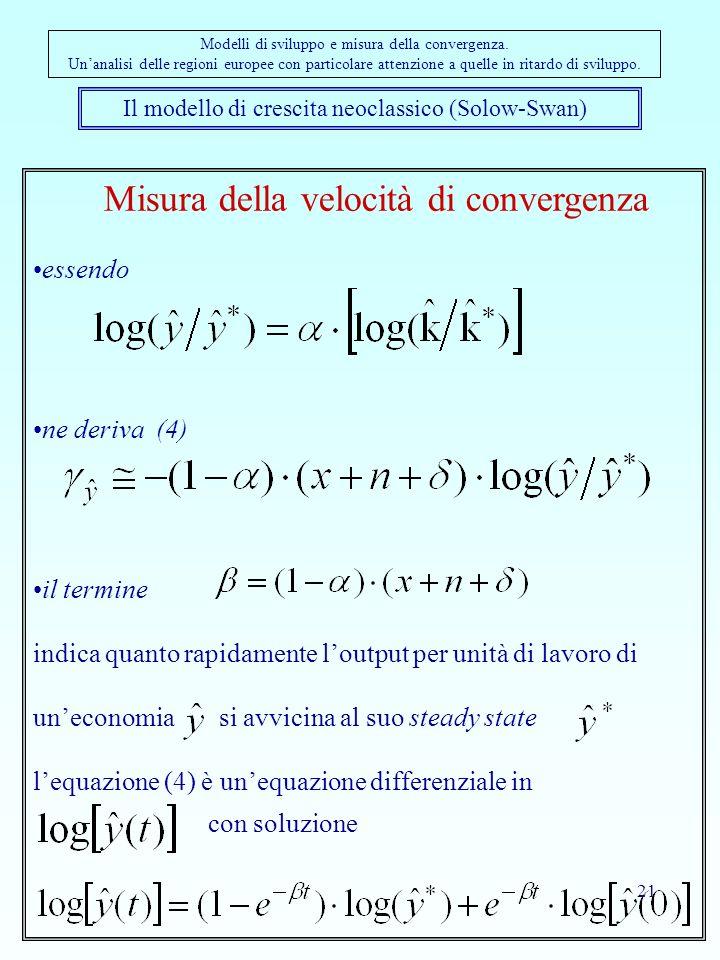 21 Il modello di crescita neoclassico (Solow-Swan) Modelli di sviluppo e misura della convergenza. Unanalisi delle regioni europee con particolare att