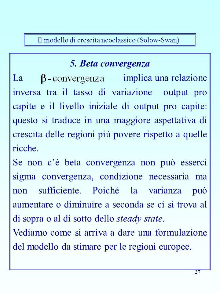 27 5. Beta convergenza La implica una relazione inversa tra il tasso di variazione output pro capite e il livello iniziale di output pro capite: quest