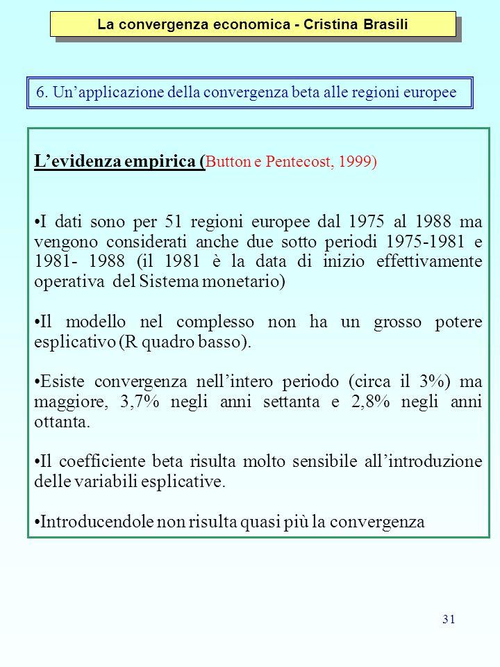 31 Levidenza empirica ( Button e Pentecost, 1999) I dati sono per 51 regioni europee dal 1975 al 1988 ma vengono considerati anche due sotto periodi 1