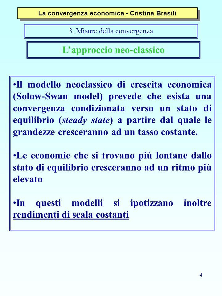 4 Lapproccio neo-classico Il modello neoclassico di crescita economica (Solow-Swan model) prevede che esista una convergenza condizionata verso un sta