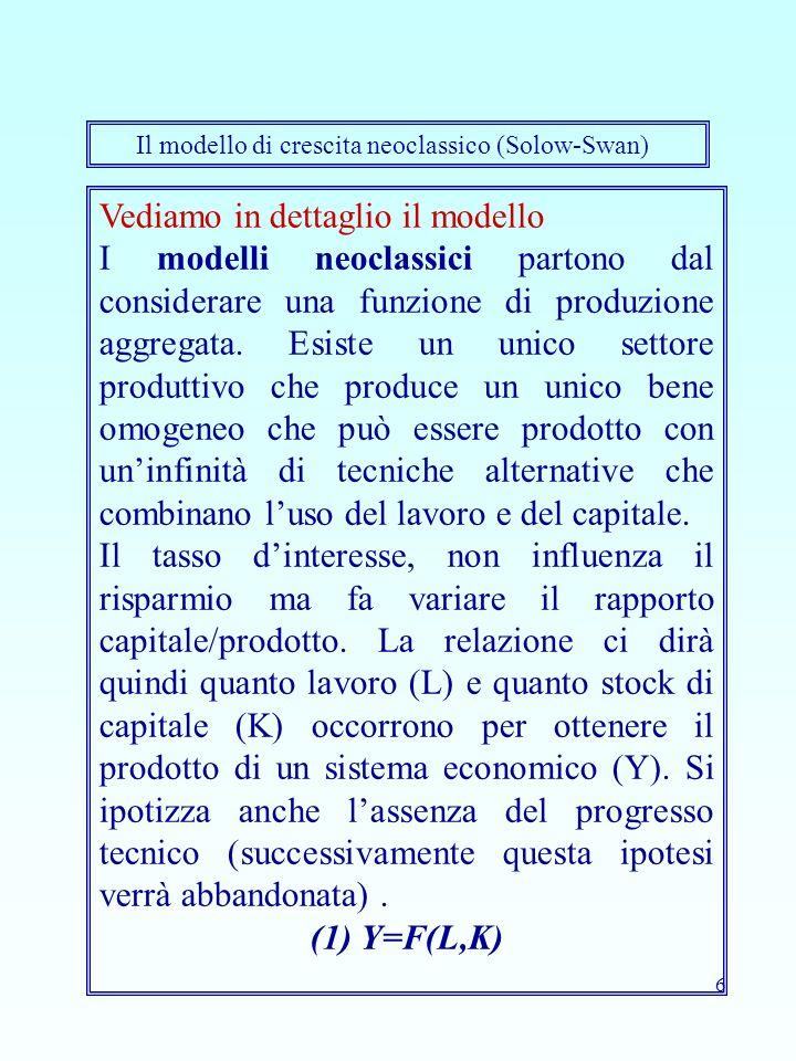 6 Vediamo in dettaglio il modello I modelli neoclassici partono dal considerare una funzione di produzione aggregata. Esiste un unico settore produtti