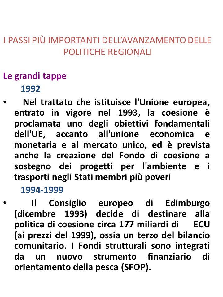 I PASSI PIÙ IMPORTANTI DELLAVANZAMENTO DELLE POLITICHE REGIONALI Le grandi tappe 1992 Nel trattato che istituisce l Unione europea, entrato in vigore nel 1993, la coesione è proclamata uno degli obiettivi fondamentali dell UE, accanto all unione economica e monetaria e al mercato unico, ed è prevista anche la creazione del Fondo di coesione a sostegno dei progetti per l ambiente e i trasporti negli Stati membri più poveri 1994-1999 Il Consiglio europeo di Edimburgo (dicembre 1993) decide di destinare alla politica di coesione circa 177 miliardi di ECU (ai prezzi del 1999), ossia un terzo del bilancio comunitario.
