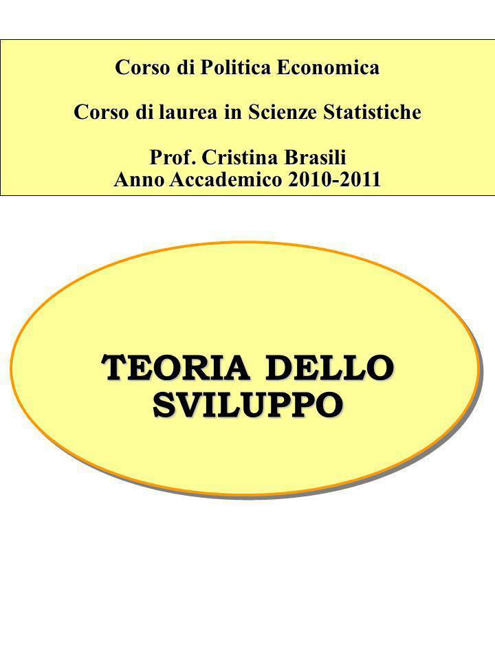 Corso di Politica Economica Corso di laurea in Scienze Statistiche Prof. Cristina Brasili Anno Accademico 2010-2011 TEORIA DELLO SVILUPPO