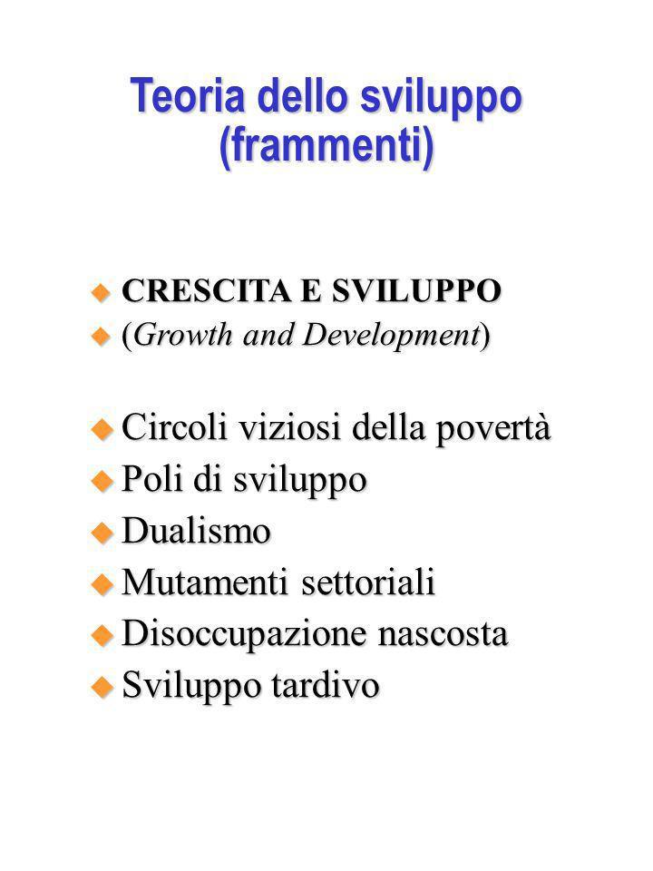 Teoria dello sviluppo (frammenti) CRESCITA E SVILUPPO CRESCITA E SVILUPPO (Growth and Development) (Growth and Development) Circoli viziosi della pove
