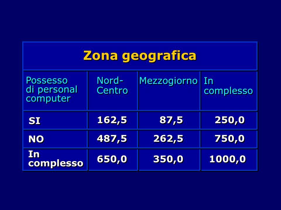 Zona geografica Possesso di personal computer Nord- Centro Mezzogiorno In complesso SI NO In complesso 162,5 487,5 650,0 87,5 262,5 350,0 250,0 750,0