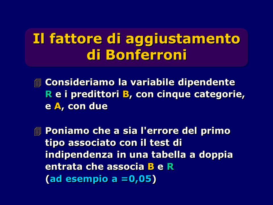 Il fattore di aggiustamento di Bonferroni 4Poniamo che a sia l'errore del primo tipo associato con il test di indipendenza in una tabella a doppia ent