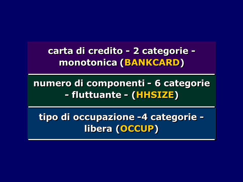 carta di credito - 2 categorie - monotonica (BANKCARD) numero di componenti - 6 categorie - fluttuante - (HHSIZE) tipo di occupazione -4 categorie - l