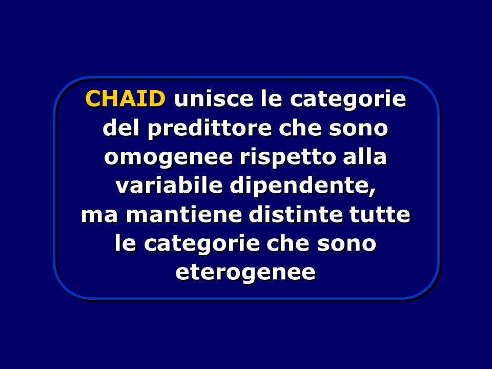 CHAID unisce le categorie del predittore che sono omogenee rispetto alla variabile dipendente, ma mantiene distinte tutte le categorie che sono eterog