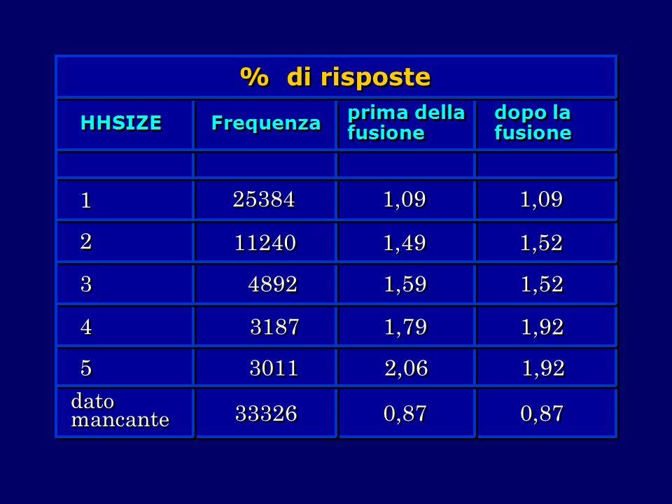 % di risposte HHSIZE Frequenza prima della fusione dopo la fusione 1 1 2 2 3 3 4 4 5 5 dato mancante 25384 11240 4892 3187 3011 33326 1,09 1,49 1,59 1
