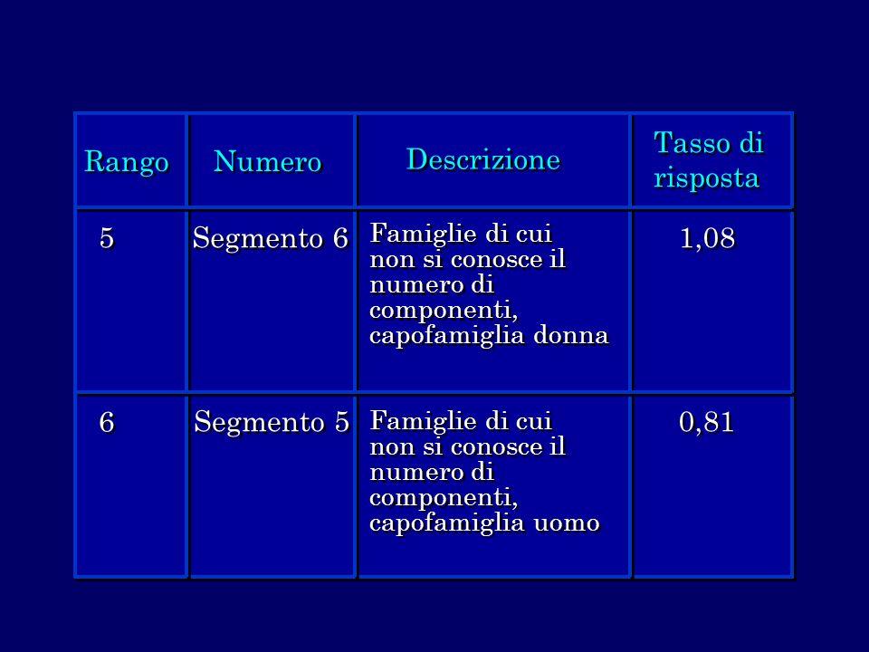 Rango Numero Descrizione Tasso di risposta 5 5 6 6 Segmento 6 Segmento 5 Famiglie di cui non si conosce il numero di componenti, capofamiglia donna 1,