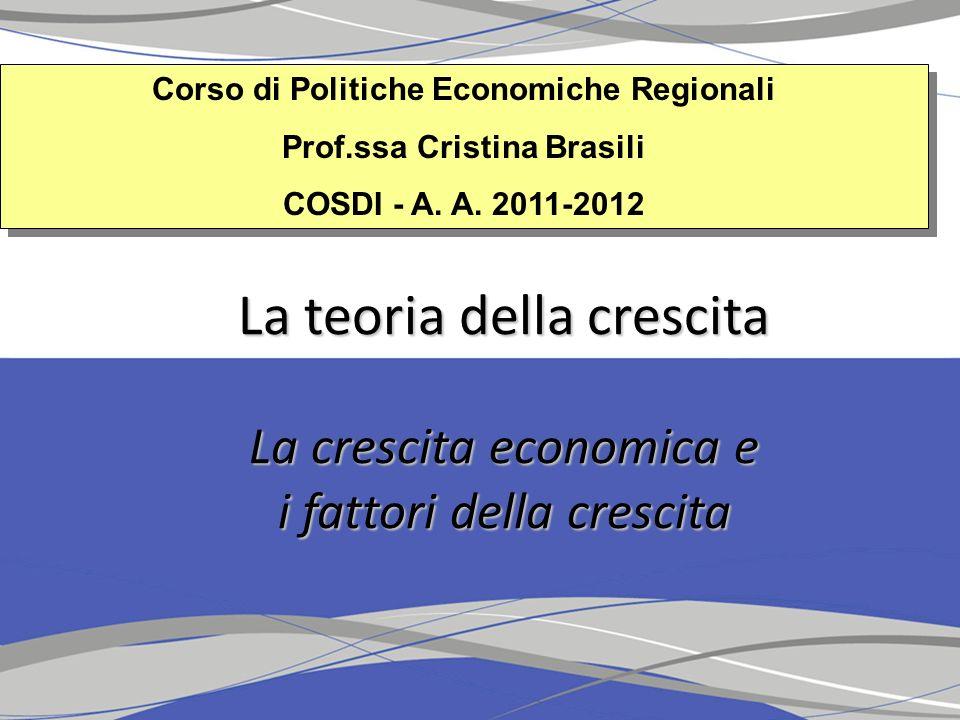 1.La crescita economica Crescita economica: importante studiare i sentieri di crescita Se invece che i livelli si mettono in relazione i tassi di crescita le performance dei paesi sono caratterizzate da unelevata instabilità Nel ventennio 1960-1980 e 1980-2003 Nel ventennio 1960-1980 e 1980-2003