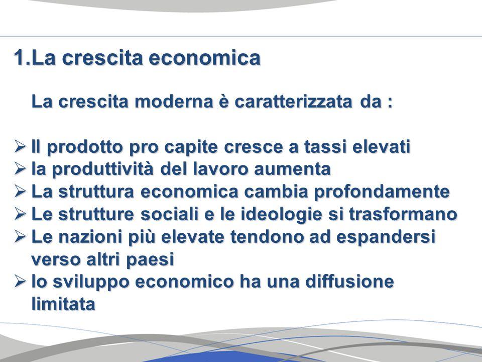 1.La crescita economica La crescita moderna è caratterizzata da : Il prodotto pro capite cresce a tassi elevati Il prodotto pro capite cresce a tassi