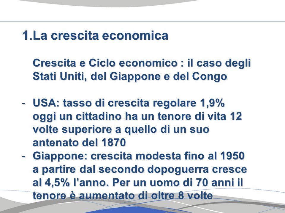 1.La crescita economica Crescita e Ciclo economico : il caso degli Stati Uniti, del Giappone e del Congo -USA: tasso di crescita regolare 1,9% oggi un