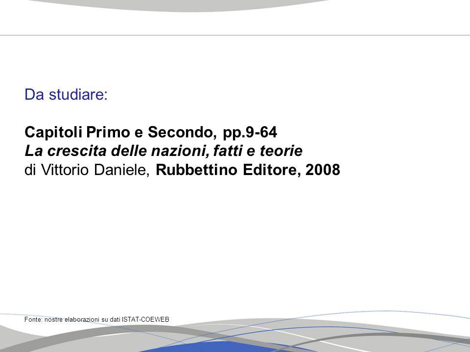 Da studiare: Capitoli Primo e Secondo, pp.9-64 La crescita delle nazioni, fatti e teorie di Vittorio Daniele, Rubbettino Editore, 2008 Fonte: nostre e