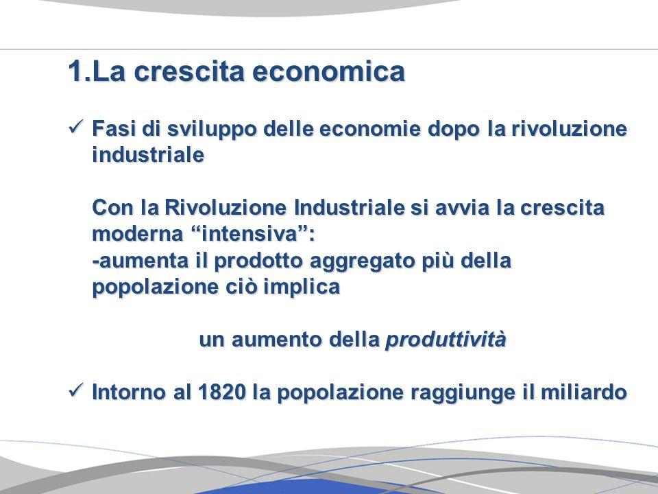1.La crescita economica Fasi di sviluppo delle economie dopo la rivoluzione industriale Fasi di sviluppo delle economie dopo la rivoluzione industrial