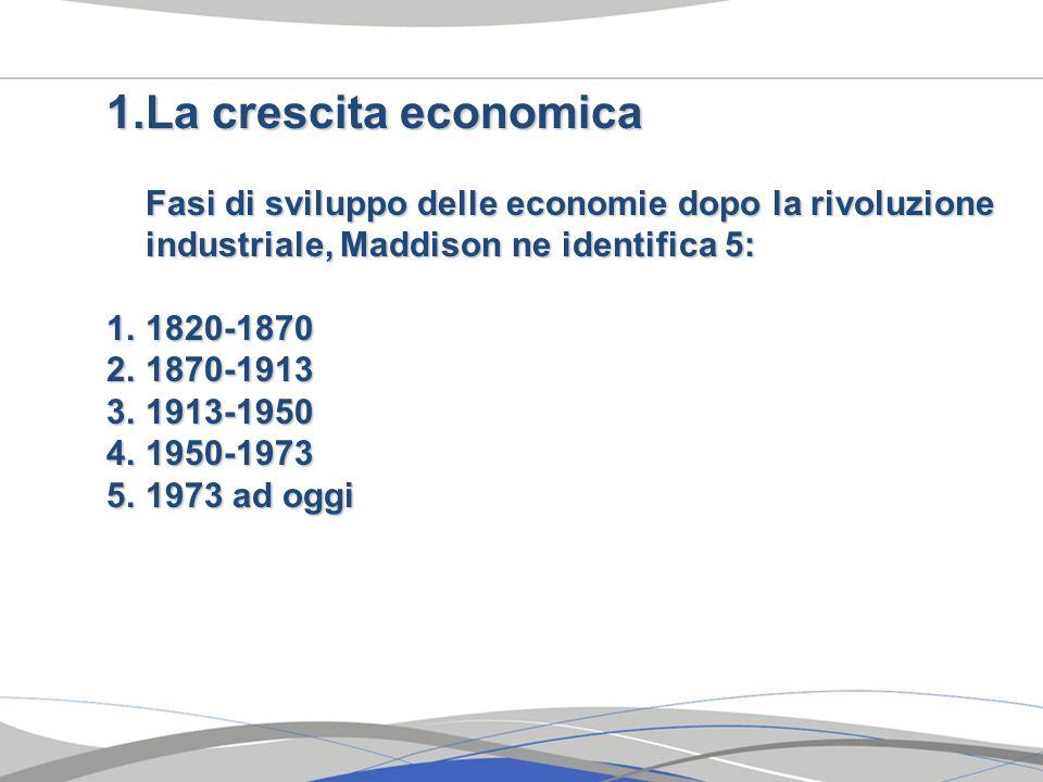 1.La crescita economica Fasi di sviluppo delle economie dopo la rivoluzione industriale, Maddison ne identifica 5: 1.1820-1870 2.1870-1913 3.1913-1950