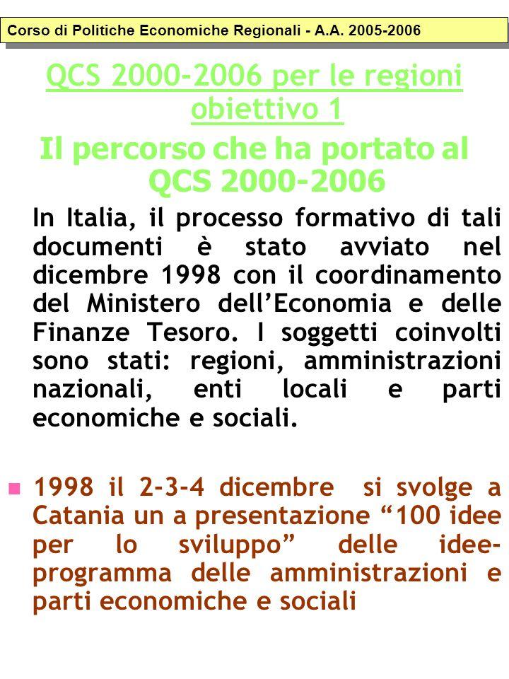 QCS 2000-2006 per le regioni obiettivo 1 Il percorso che ha portato al QCS 2000-2006 In Italia, il processo formativo di tali documenti è stato avviat