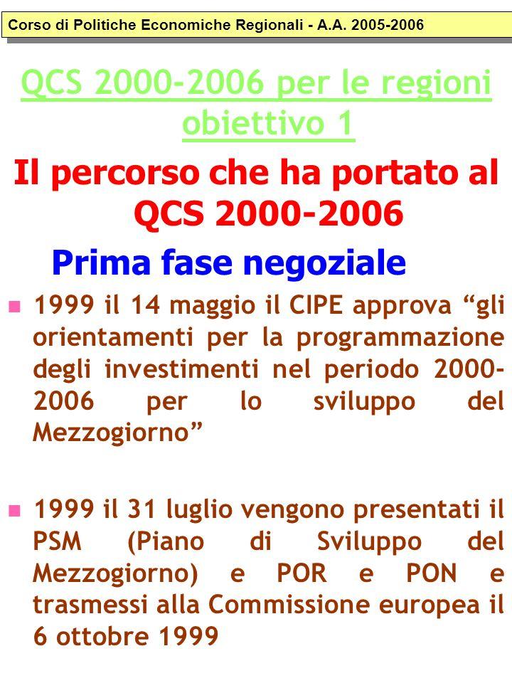 QCS 2000-2006 per le regioni obiettivo 1 Il percorso che ha portato al QCS 2000-2006 Prima fase negoziale 1999 il 14 maggio il CIPE approva gli orient