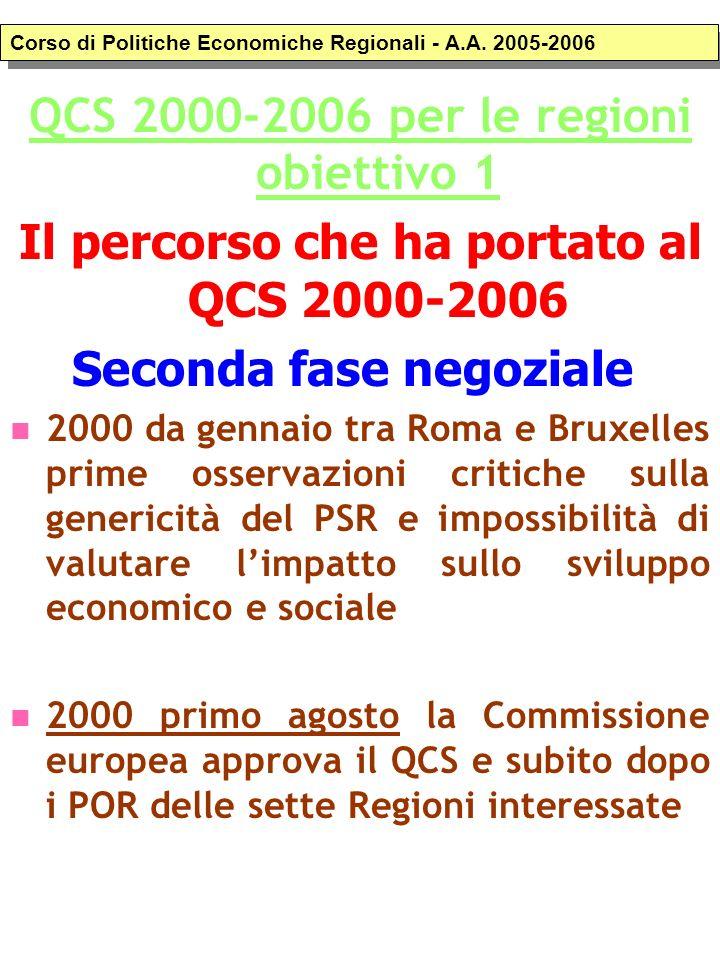Quadro Comunitario di Sostegno 2000-2006 per le Regioni Obiettivo 1.