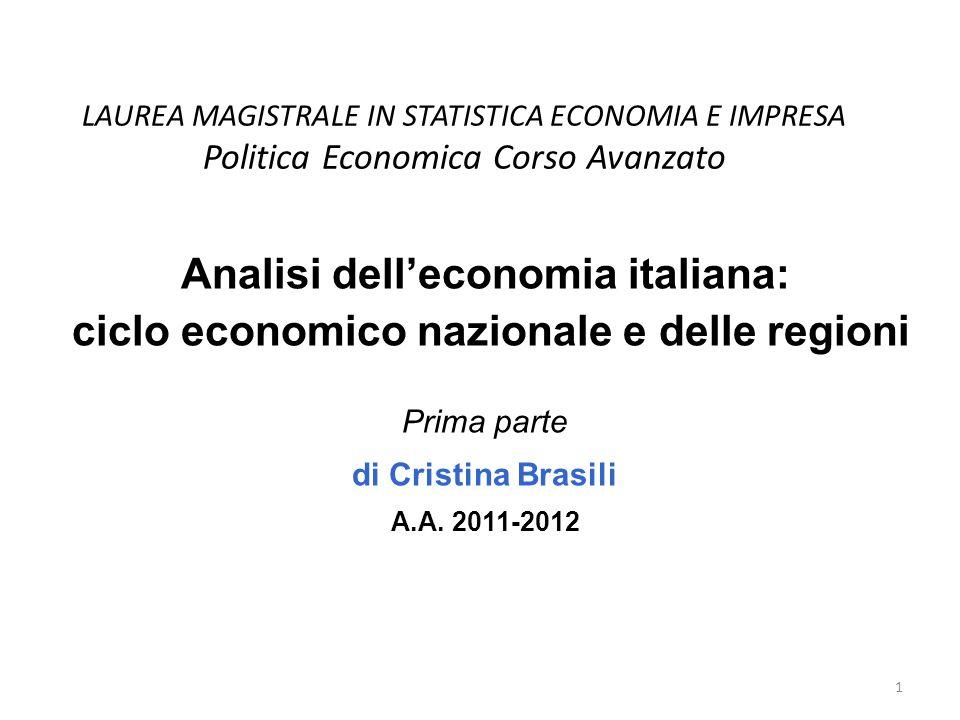 LAUREA MAGISTRALE IN STATISTICA ECONOMIA E IMPRESA Politica Economica Corso Avanzato Analisi delleconomia italiana: ciclo economico nazionale e delle