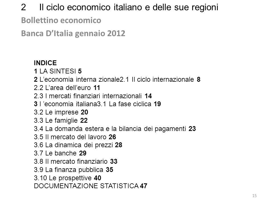 2Il ciclo economico italiano e delle sue regioni Bollettino economico Banca DItalia gennaio 2012 15 INDICE 1 LA SINTESI 5 2 Leconomia interna zionale2